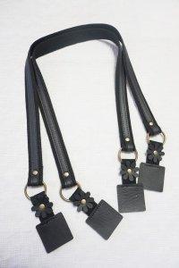 バッグ持ち手 ショルダー フラワーポイント 黒 約75cm 2本手
